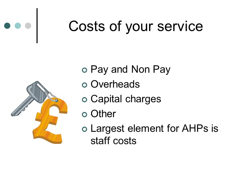Costs of your service Pay and Non Pay Overheads Capital charges Other
