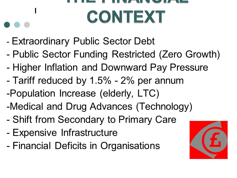 THE FINANCIAL CONTEXT - Public Sector Funding Restricted (Zero Growth)