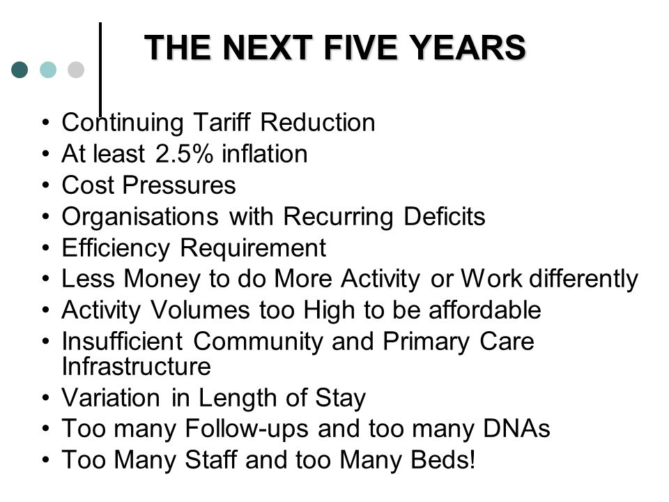 THE NEXT FIVE YEARS Continuing Tariff Reduction