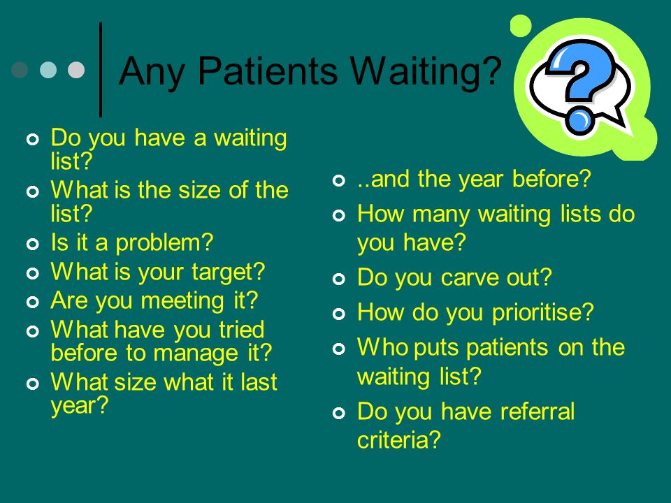 Any Patients Waiting Do you have a waiting list
