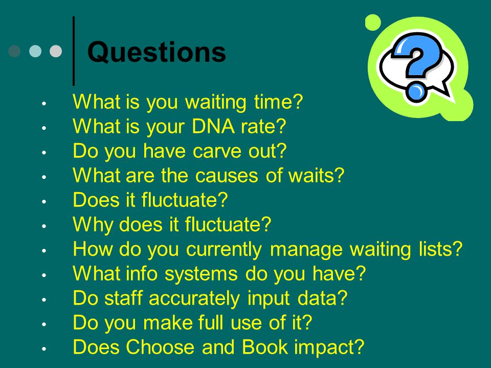 Questions What is you waiting time What is your DNA rate