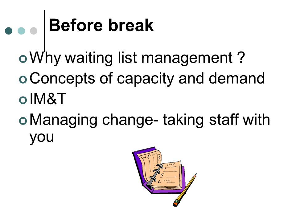Before break Why waiting list management