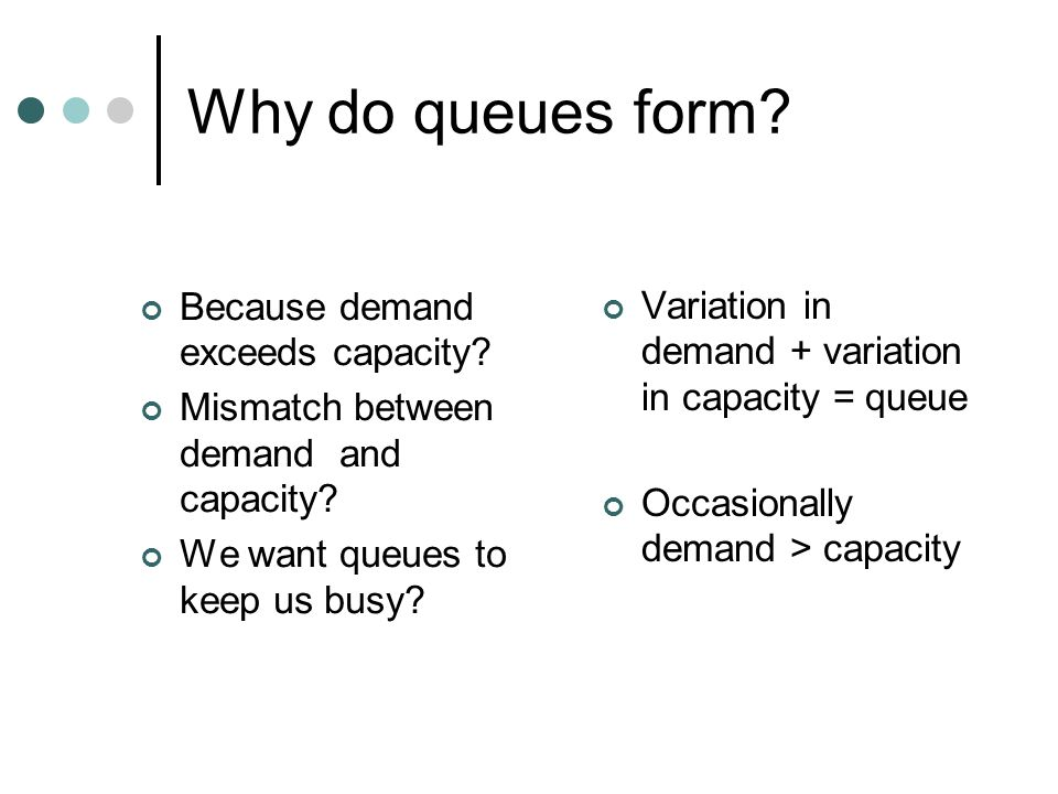 Why do queues form Because demand exceeds capacity