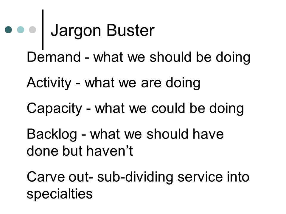 Jargon Buster Demand - what we should be doing
