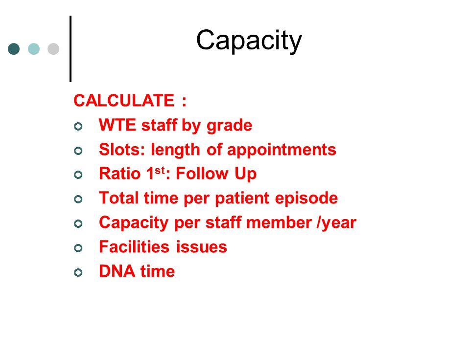 Capacity CALCULATE : WTE staff by grade Slots: length of appointments