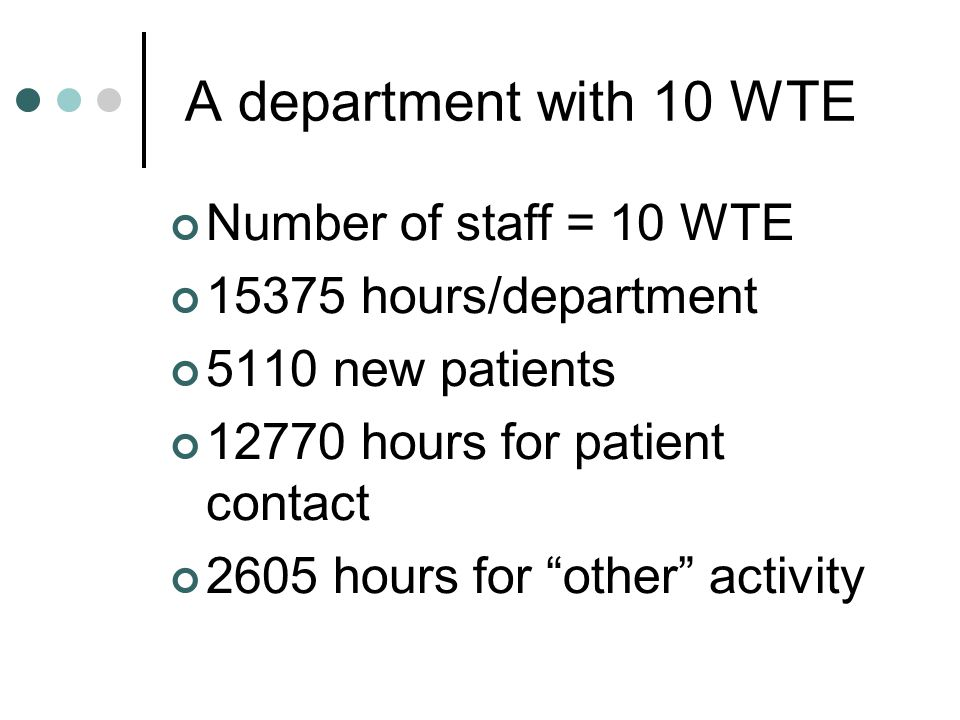 A department with 10 WTE Number of staff = 10 WTE