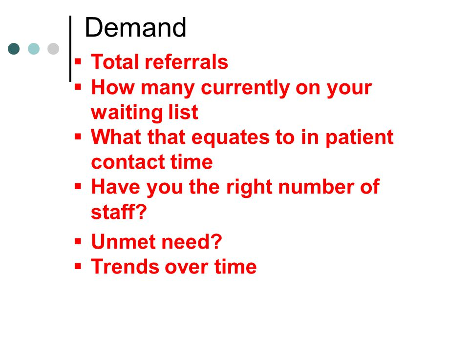 Demand Total referrals How many currently on your waiting list