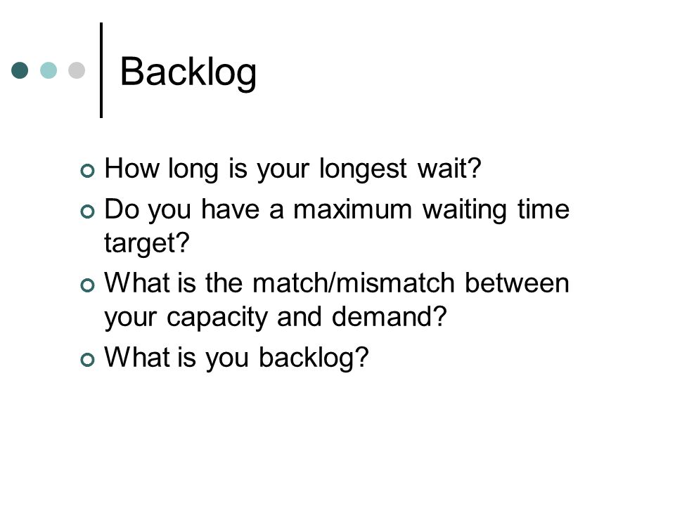 Backlog How long is your longest wait