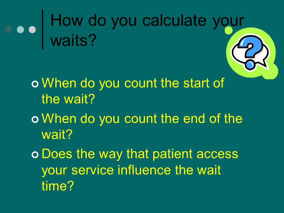 How do you calculate your waits