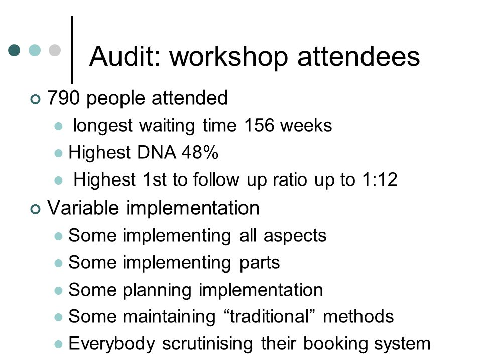 Audit: workshop attendees