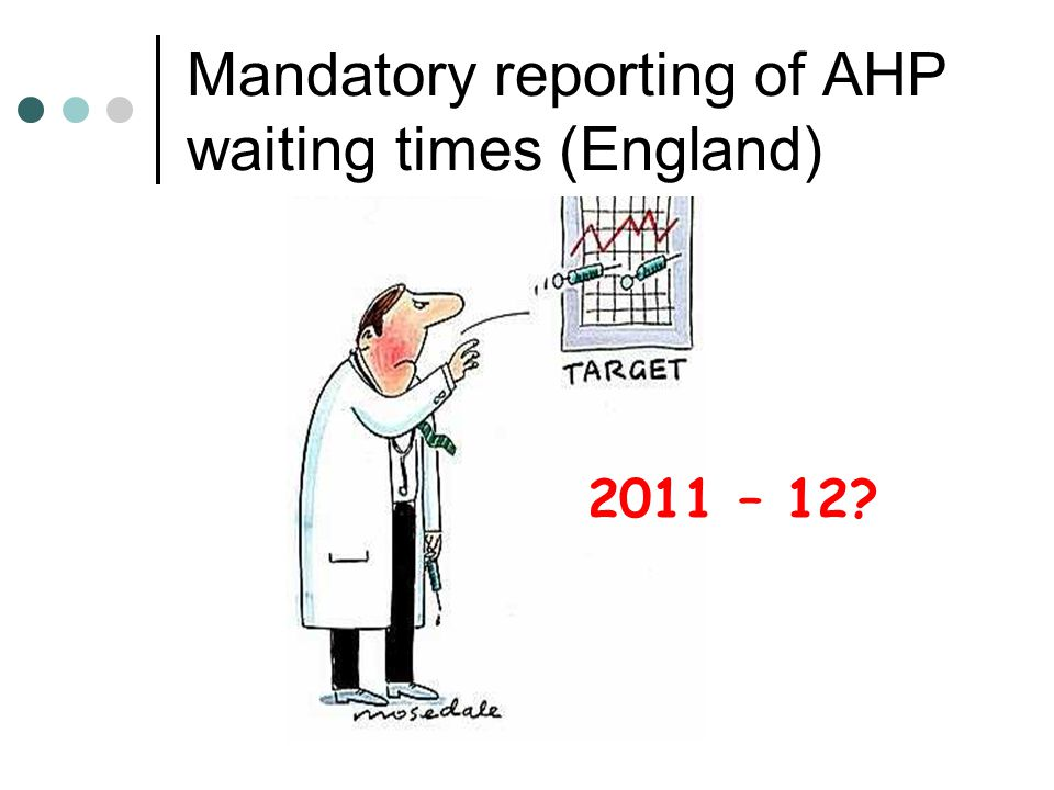 Mandatory reporting of AHP waiting times (England)