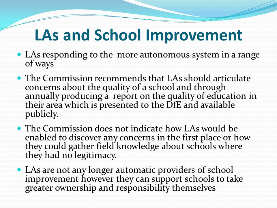 LAs and School Improvement