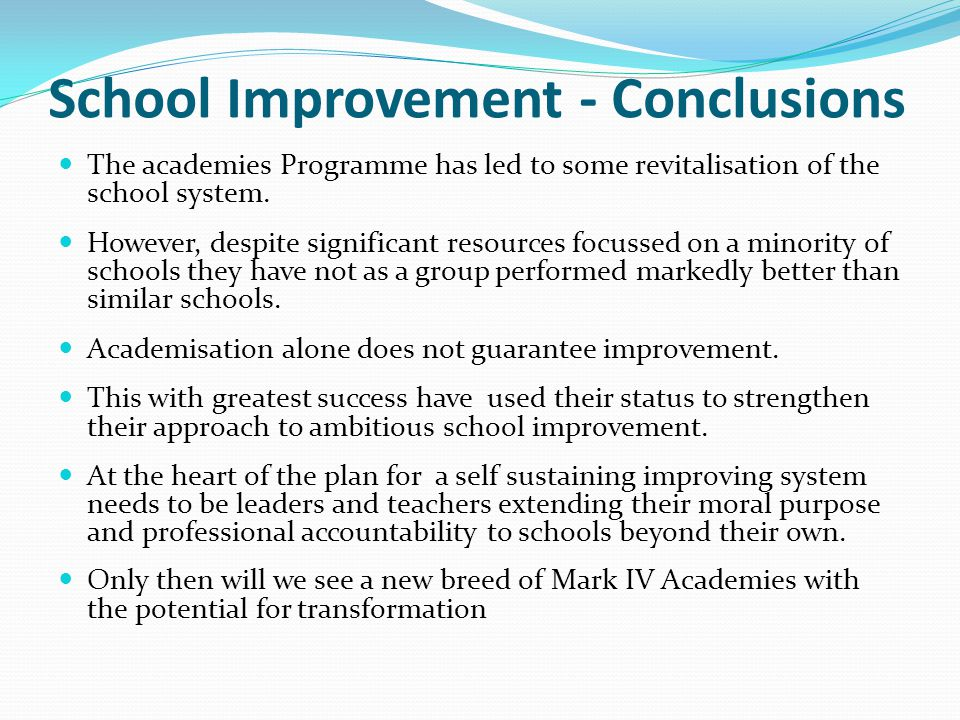 School Improvement - Conclusions