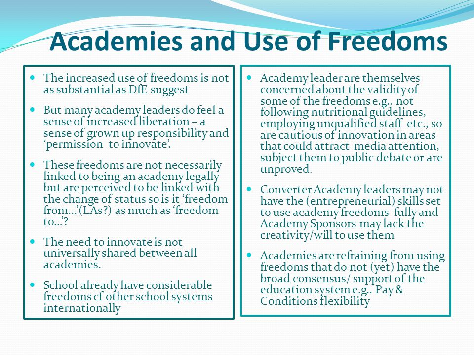 Academies and Use of Freedoms