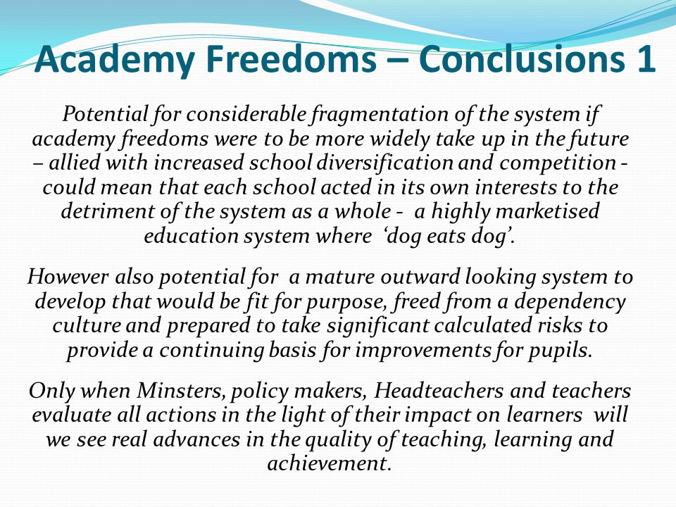 Academy Freedoms – Conclusions 1
