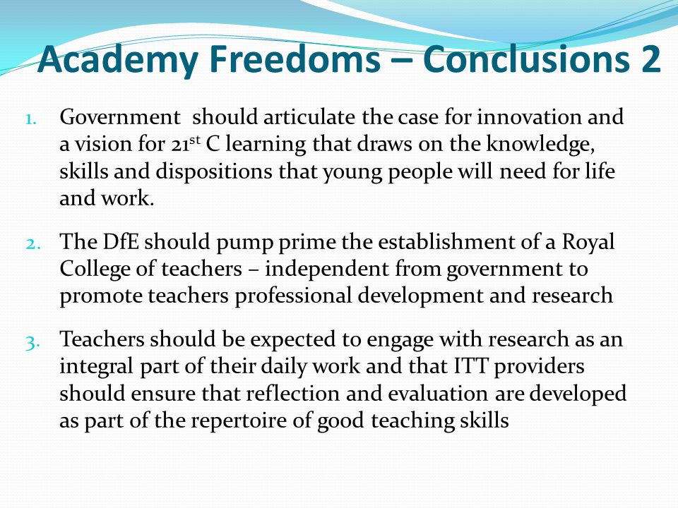 Academy Freedoms – Conclusions 2
