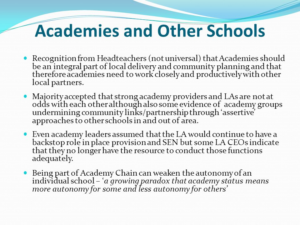 Academies and Other Schools