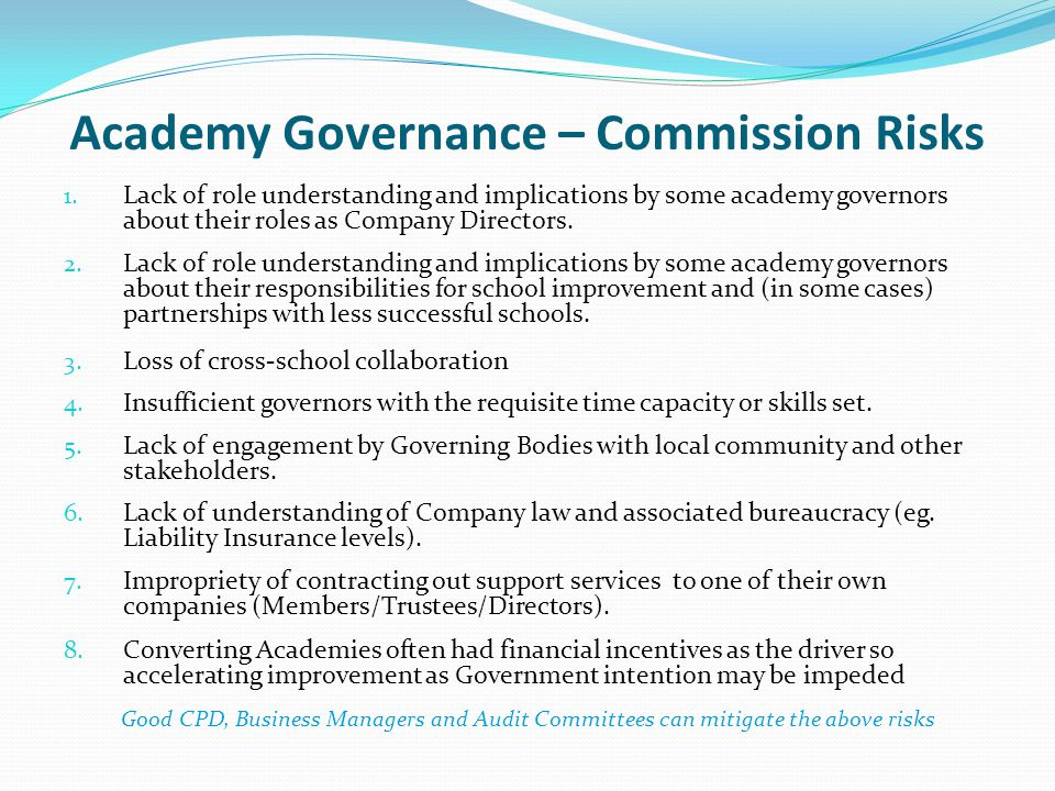 Academy Governance – Commission Risks