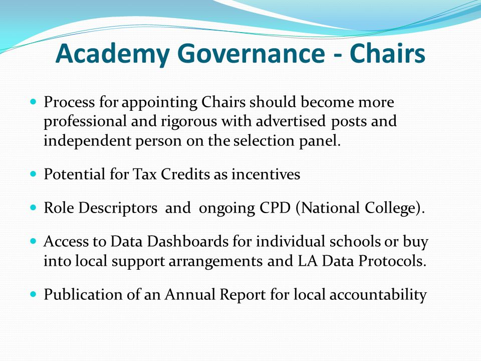 Academy Governance - Chairs