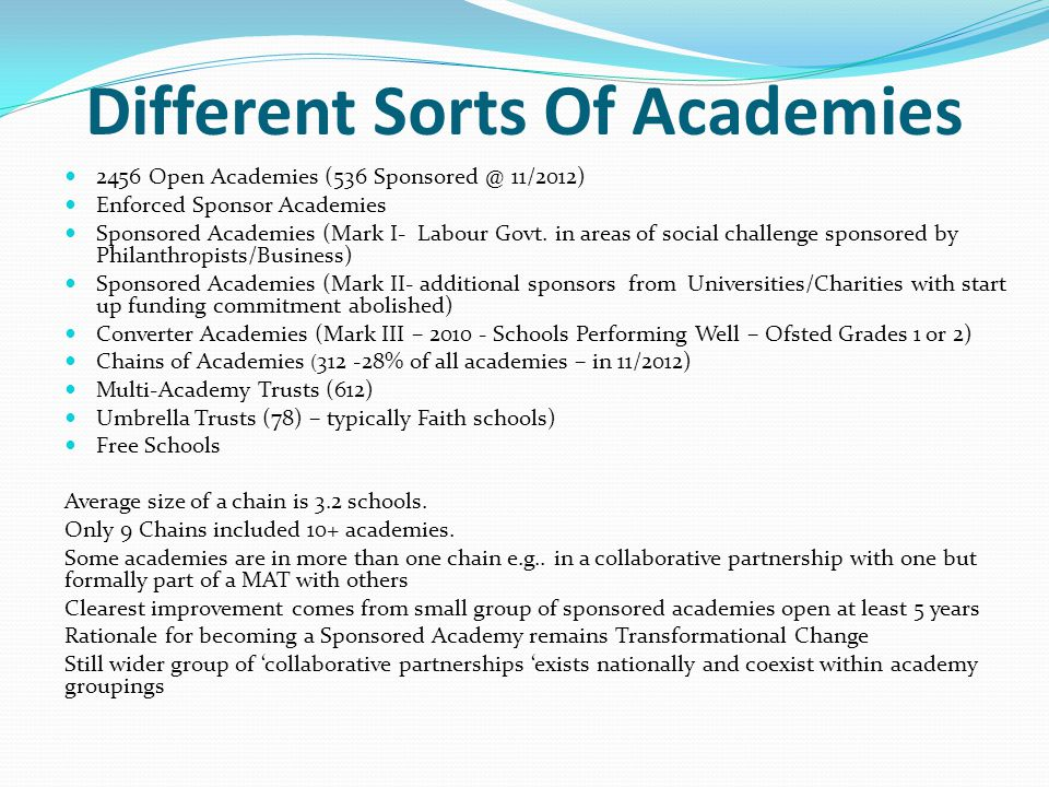 Different Sorts Of Academies