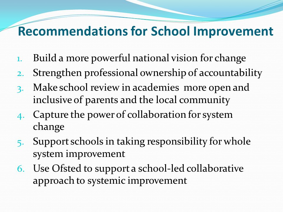 Recommendations for School Improvement