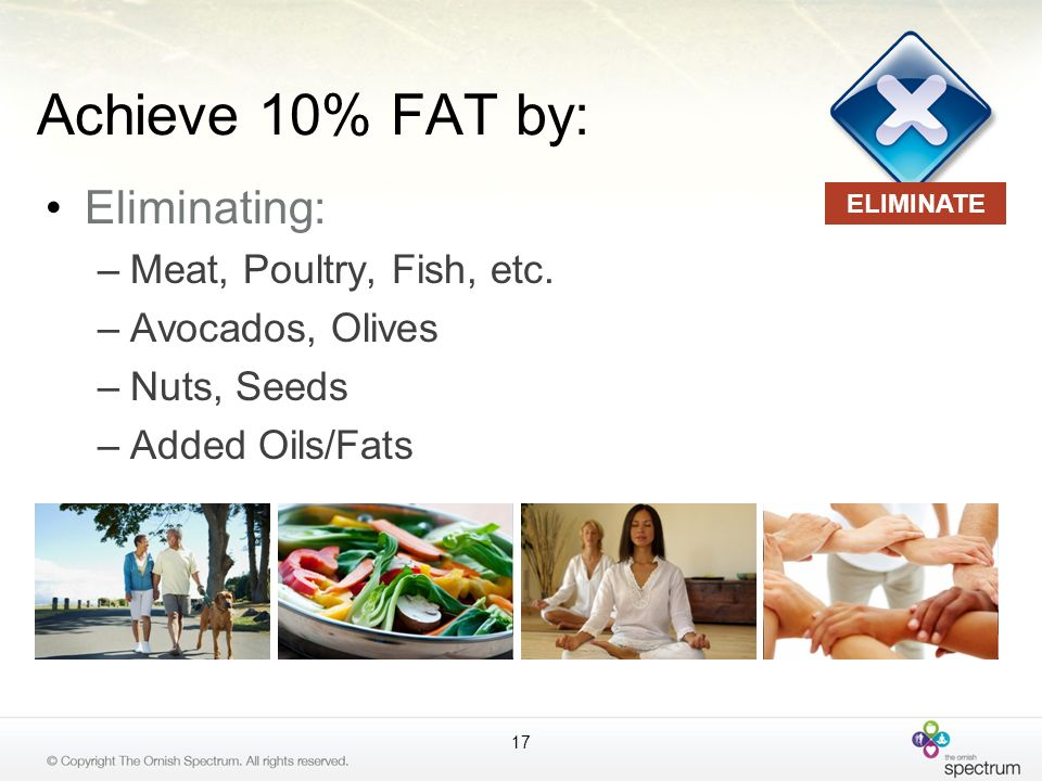 Achieve 10% FAT by: Eliminating: Meat, Poultry, Fish, etc.
