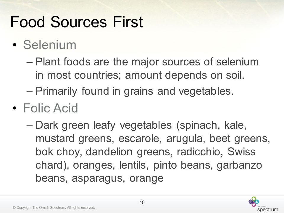 Food Sources First Selenium Folic Acid