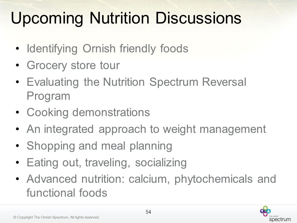 Upcoming Nutrition Discussions