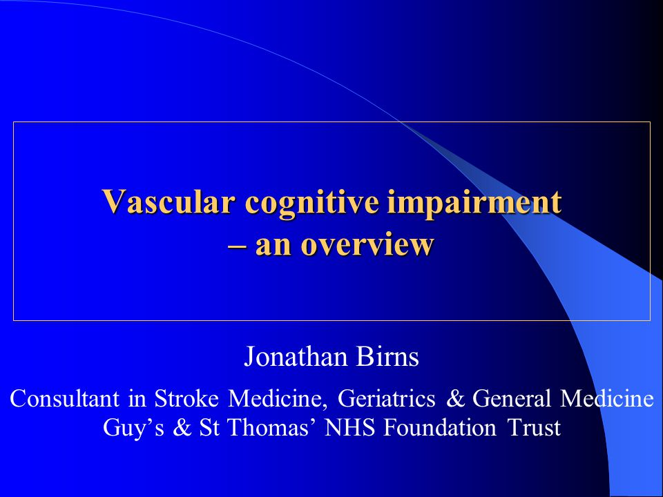 Vascular cognitive impairment – an overview