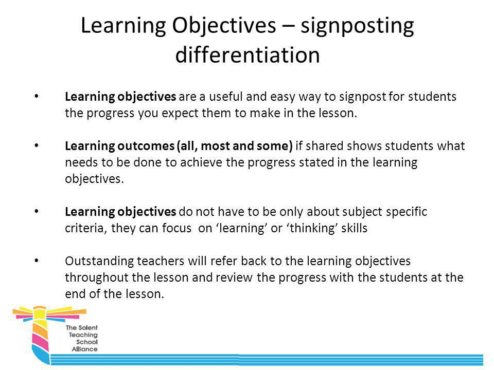 Learning Objectives – signposting differentiation