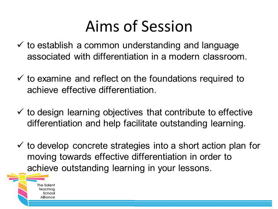 Aims of Session to establish a common understanding and language associated with differentiation in a modern classroom.