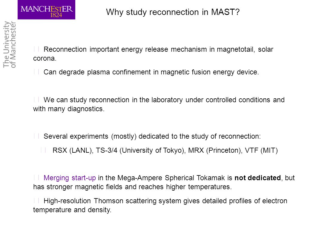 Why study reconnection in MAST