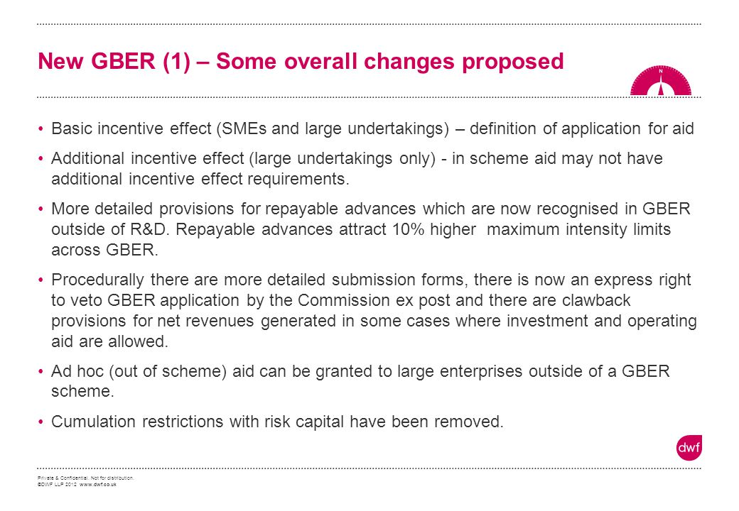 New GBER (1) – Some overall changes proposed