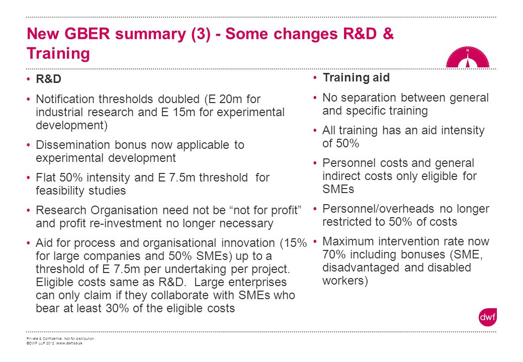 New GBER summary (3) - Some changes R&D & Training