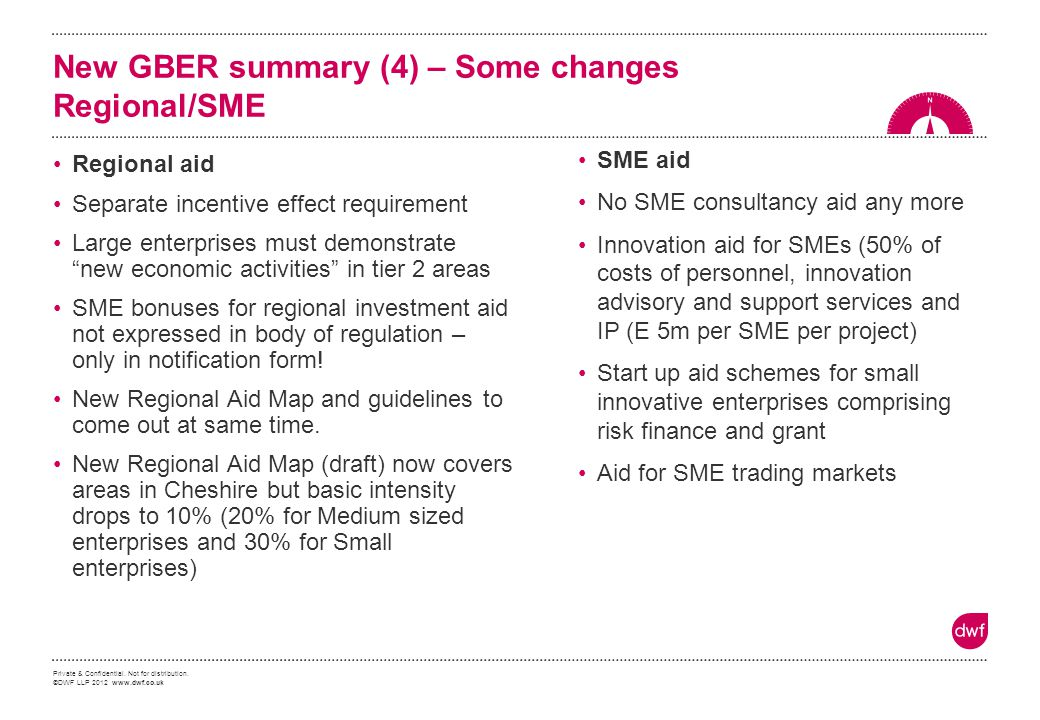 New GBER summary (4) – Some changes Regional/SME