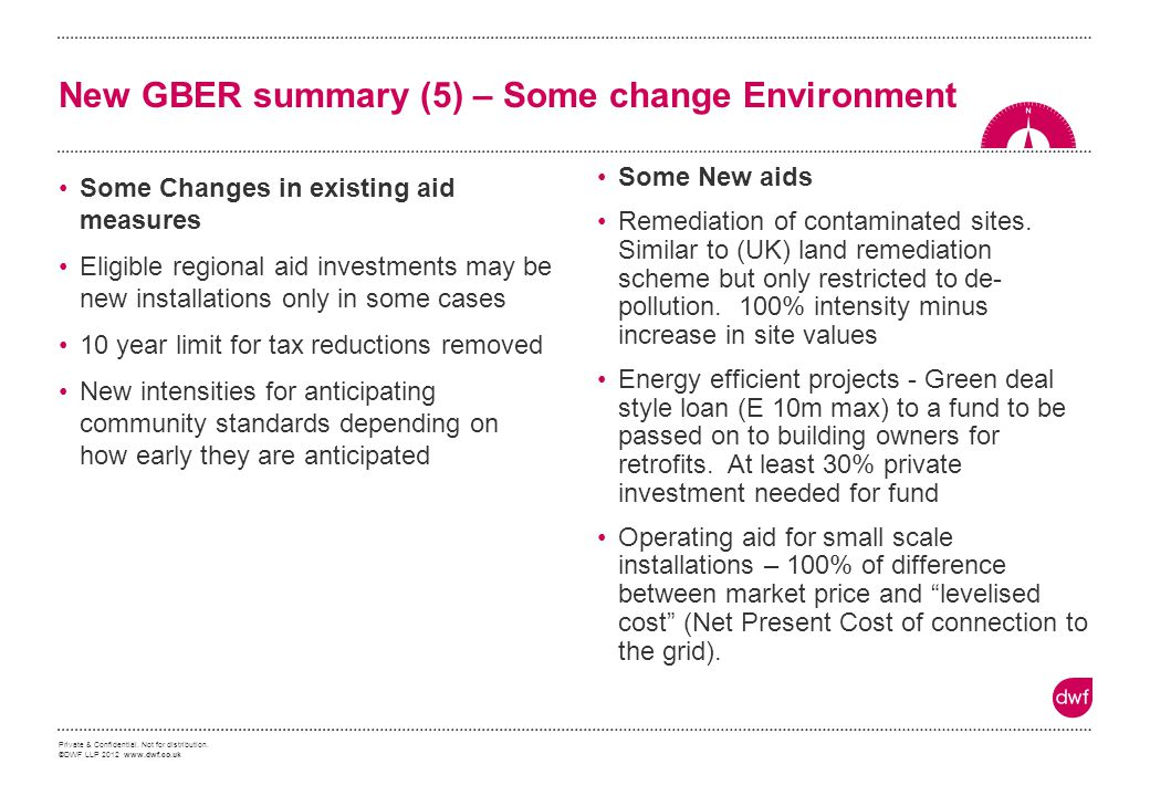 New GBER summary (5) – Some change Environment