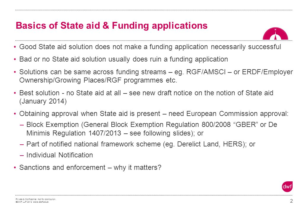 Basics of State aid & Funding applications