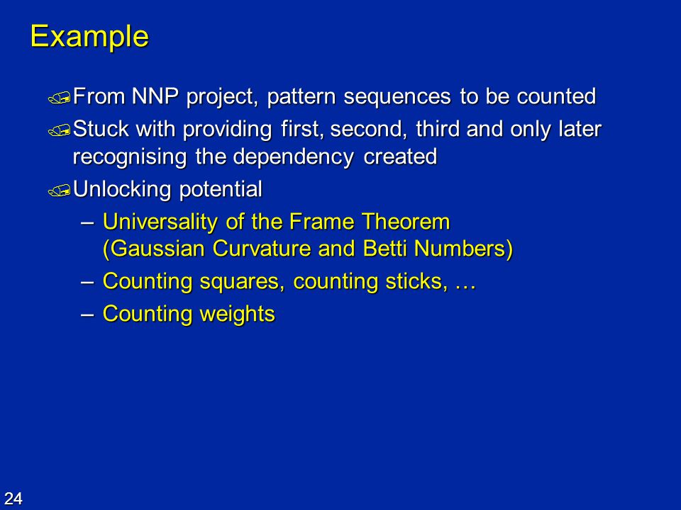 Example From NNP project, pattern sequences to be counted