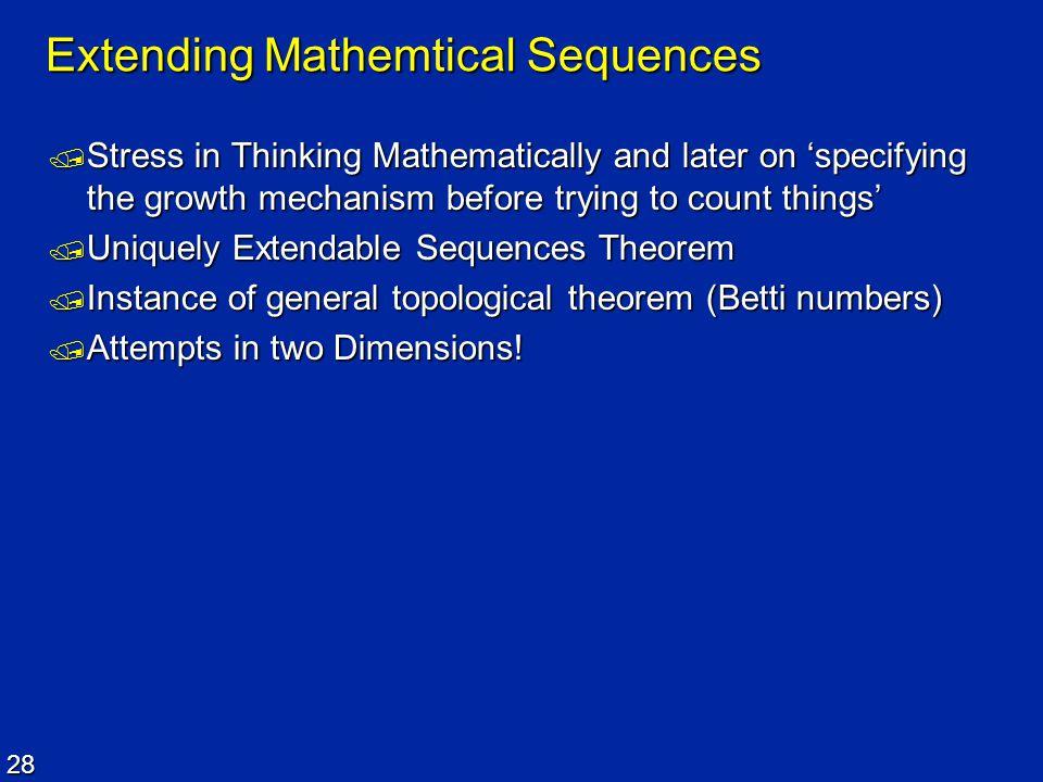 Extending Mathemtical Sequences