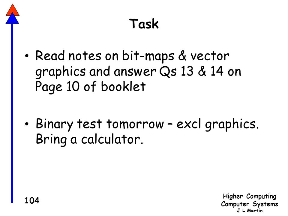 Task Read notes on bit-maps & vector graphics and answer Qs 13 & 14 on Page 10 of booklet.