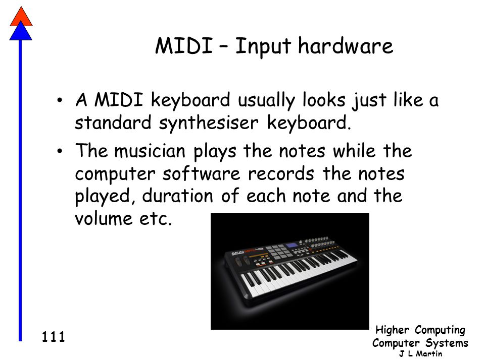MIDI – Input hardware A MIDI keyboard usually looks just like a standard synthesiser keyboard.