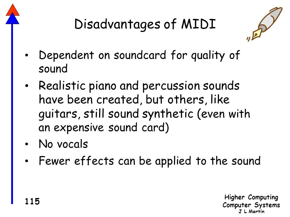Disadvantages of MIDI Dependent on soundcard for quality of sound.