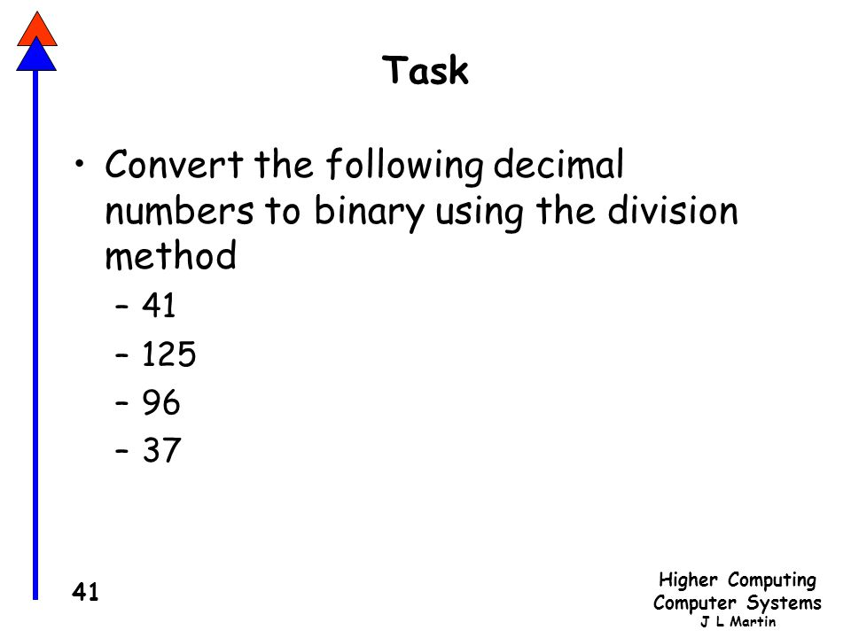 Task Convert the following decimal numbers to binary using the division method 41 125 96 37