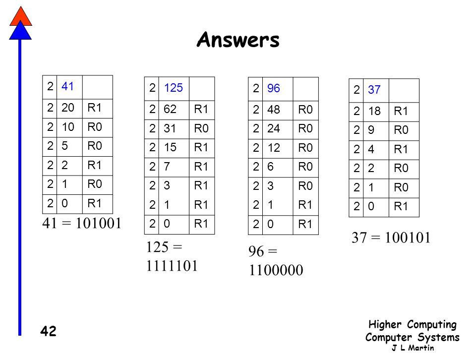Answers 2. 41. 20. R1. 10. R0. 5. 1. 2. 125. 62. R1. 31. R0. 15. 7. 3. 1. 2. 96.