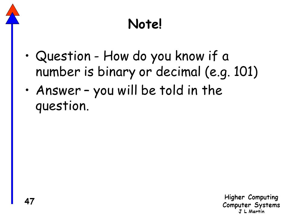 Note. Question - How do you know if a number is binary or decimal (e.g.