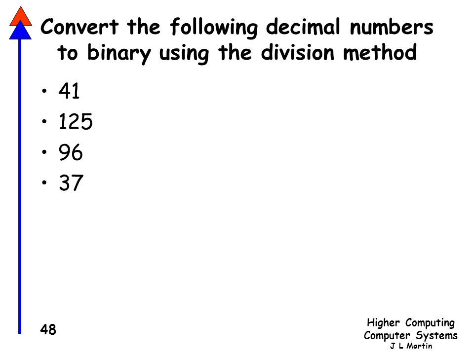 Convert the following decimal numbers to binary using the division method