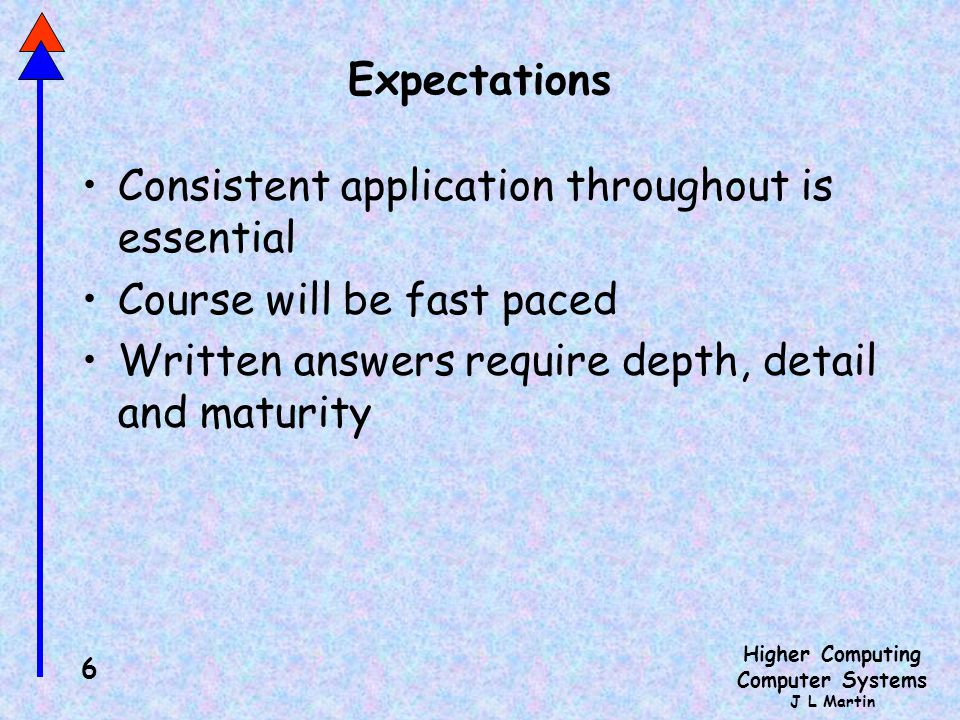 Expectations Consistent application throughout is essential.