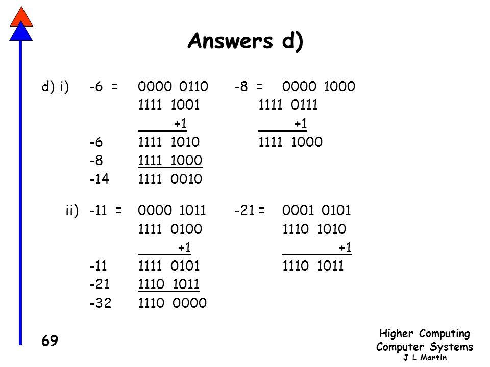 Answers d) d) i) -6 = 0000 0110 -8 = 0000 1000. 1111 1001 1111 0111. +1 +1. -6 1111 1010 1111 1000.
