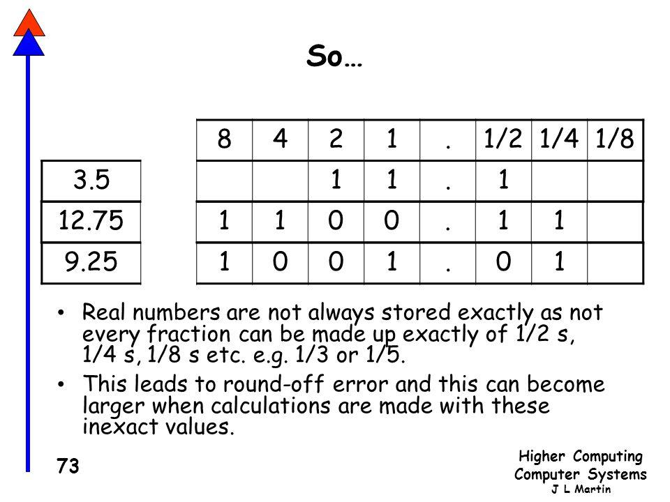 So… 8. 4. 2. 1. . 1/2. 1/4. 1/8. 3.5. 12.75. 1. . 9.25. 1. .