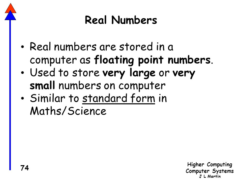Real Numbers Real numbers are stored in a computer as floating point numbers. Used to store very large or very small numbers on computer.